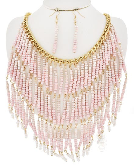 Fringe Pink Necklace