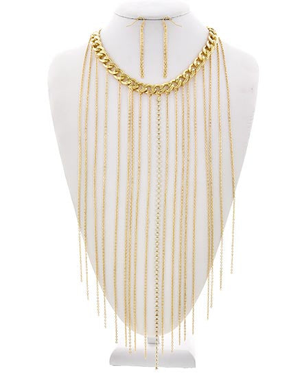 Gold Fringe Necklace & Earrings