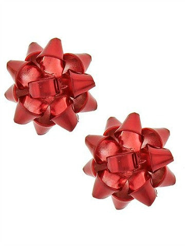 Holiday Bow Earrings | Red