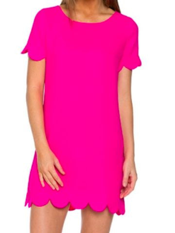 Taylor Scallop Dress - Hot Pink | Sassy Shortcake | www.sassyshortcake.com