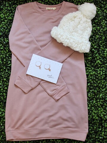 Rose Pink Sweatshirt Dress | Back to Basics | sassyshortcake.com | Charleston Boutique | Sassy Shortcake