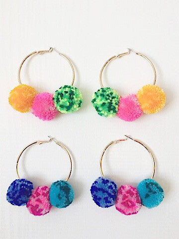 Festive in Fiji Pom Earrings | Sassy Shortcake | sassyshortcake.com