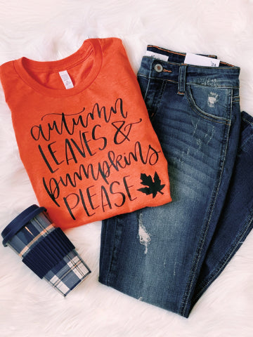 Autumn Leaves & Pumpkins Please Fall Tee | sassyshortcake.com | Sassy Shortcake Boutique