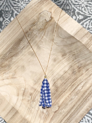 Gingham Tassel Necklace
