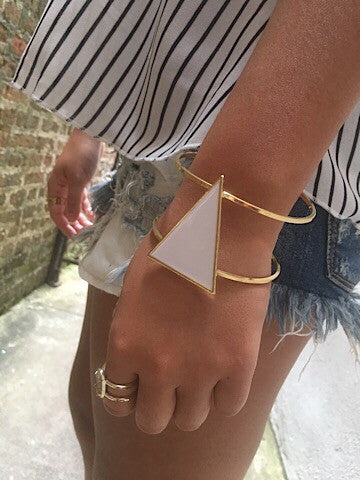 white triangle bracelet gold and white | sassyshortcake.com | sassy shortcake