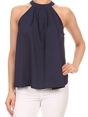 navy blue halter style top | smooth sailing | sassyshortcake.com | sassy shortcake boutique