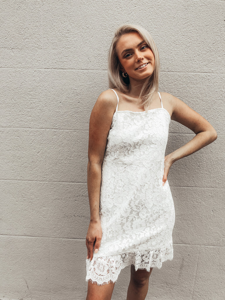 English Kisses White Lace Dress | Sassy Shortcake | sassyshortcake.com