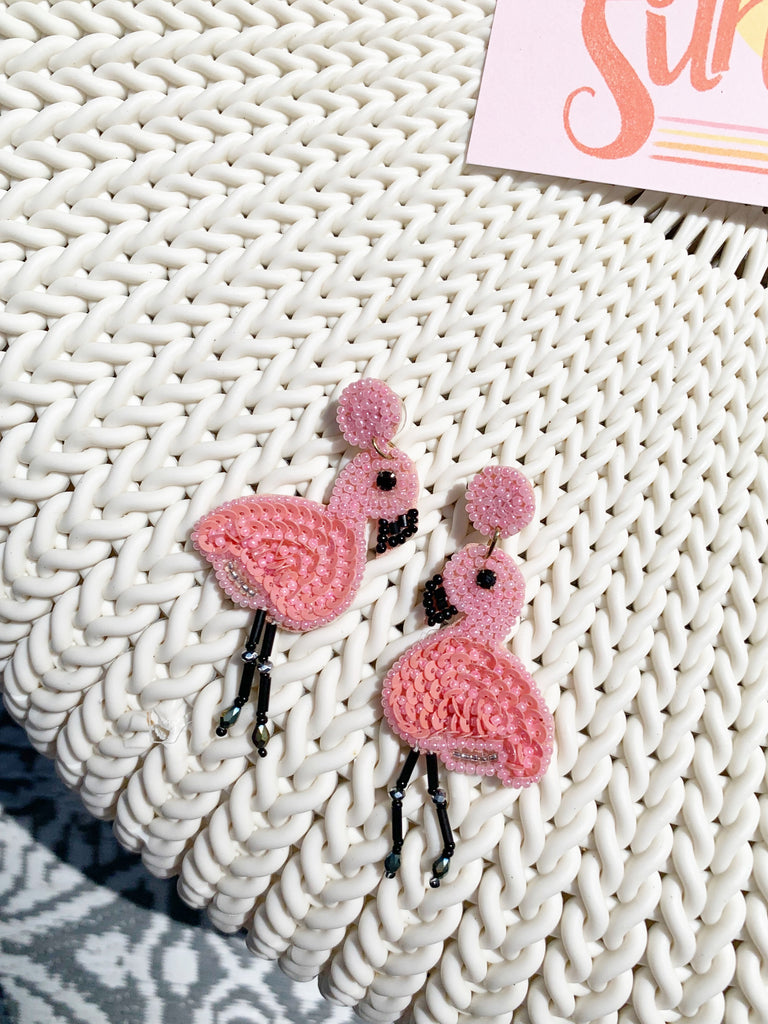 Fancy Pink Flamingo Bead Earrings | Sassy Shortcake | sassyshortcake.com
