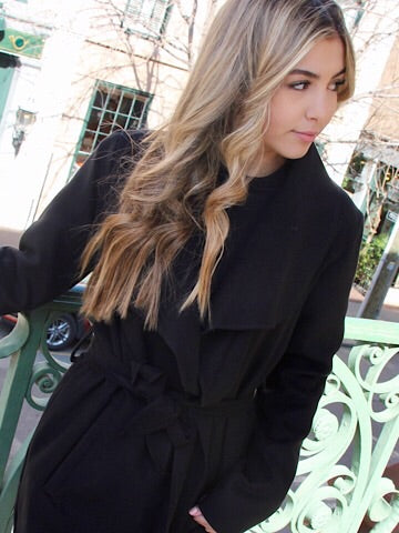 Knotty by Nature Black Tie Waist Jacket | sassyshortcake.com | Sassy Shortcake
