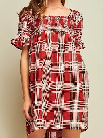 No Promises Rust Orange Plaid Dress | sassyshortcake.com | Sassy Shortcake