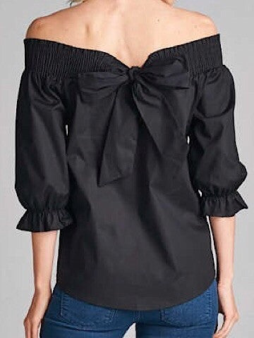 black off the shoulder bow top | sassyshortcake.com | sassy shortcake boutique