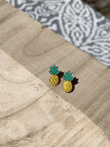 Pineapple enamel post earrings | sassy shortcake boutique | sassyshortcake.com