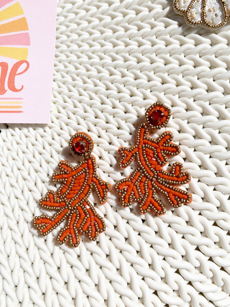 Coral Fire Beaded Earrings | Sassy Shortcake | sassyshortcake.com