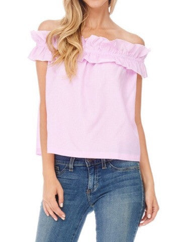 pink gingham off shoulder ruffle top | call me maybe | sassyshortcake.com