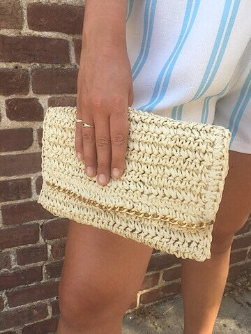 straw clutch bag chain accent | sassy shortcake | sassyshortcake.com