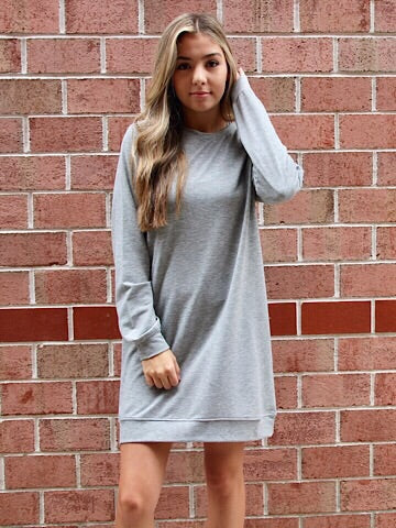 Back to Basics Grey Sweatshirt Dress | sassyshortcake.com | Sassy Shortcake Boutique