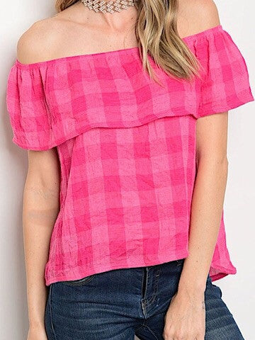 Pink ruffle off the shoulder top | sassy shortcake | sassyshortcake.com | check you later bright pink