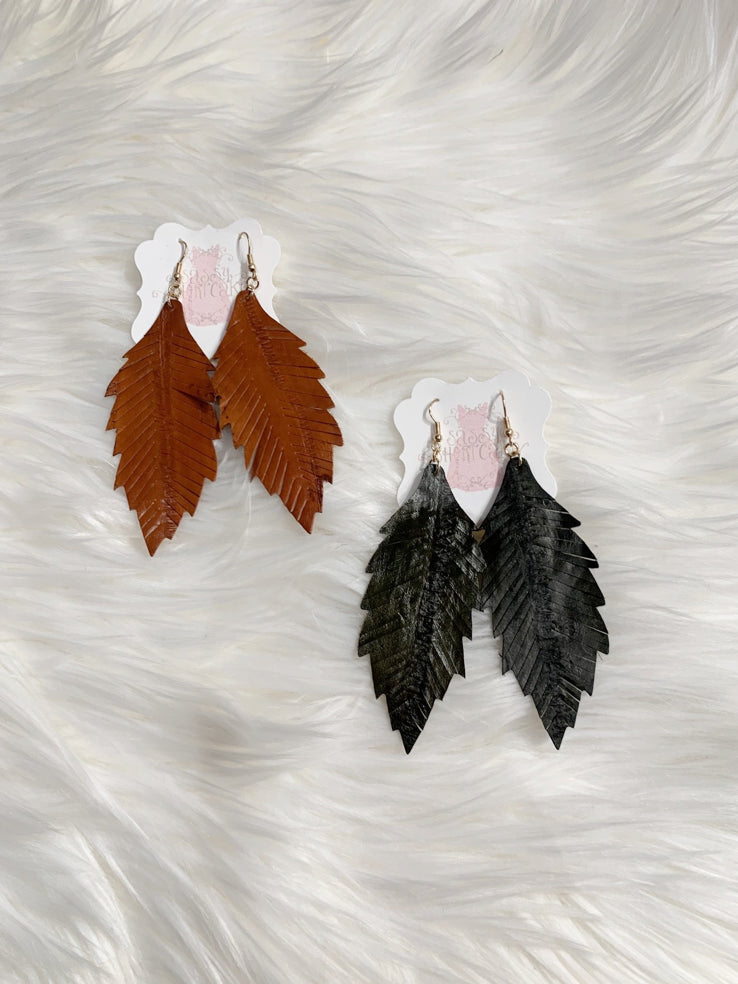 Leather Leaf Disbeleaf Earrings | sassyshortcake.com | Sassy Shortcake