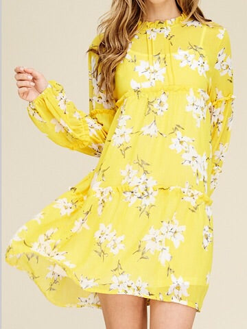 Yellow Floral Dress Sun Chaser | sassyshortcake.com | Sassy Shortcake