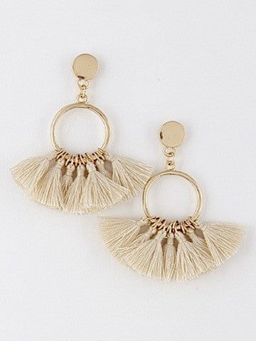 cream tassel circle earrings | sassyshortcake.com | Sassy Shortcake