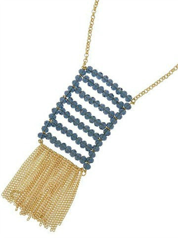 Ladder Fringe Necklace | Blue