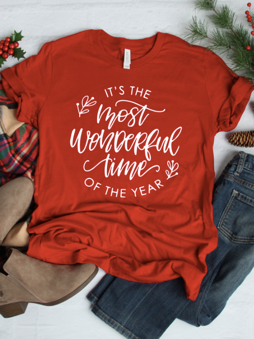 It's the Most Wonderful Time of the Year Red Graphic Christmas Tee | sassyshortcake.com | Sassy Shortcake