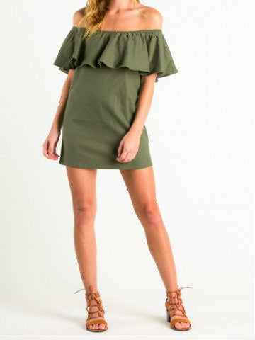 Off the shoulder Olive green Dress | sassyshortcake.com