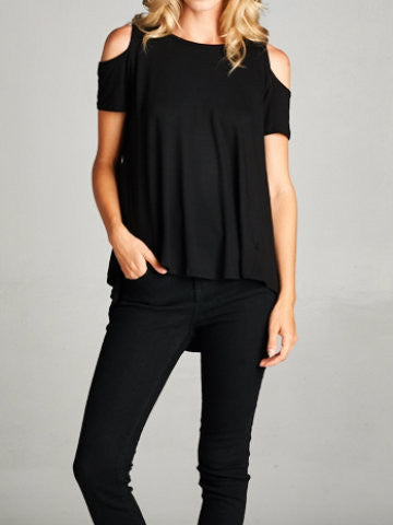 BLACK COLD SHOULDER TOP | SASSY SHORTCAKE