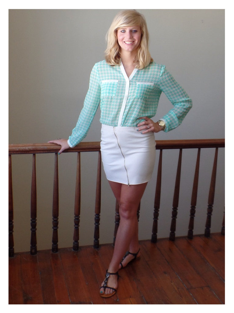Mint Houndstooth Top