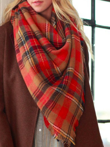 Plaid Poppy Scarf