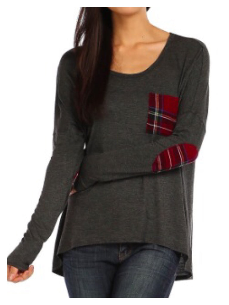 Plaid Patch Pocket Tunic Top