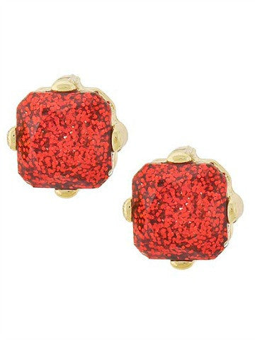 red glitter earrings | sassyshortcake.com