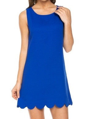 Tiffany Scallop Dress - Royal | Sassy Shortcake | sassyshortcake.com