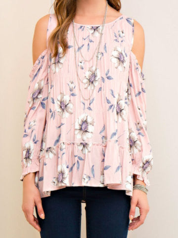 spring blooms blush pink floral cold shoulder top | sassyshortcake.com | sassy shortcake