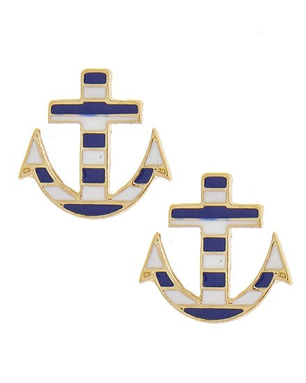 Blue & White Anchor Stripe Studs