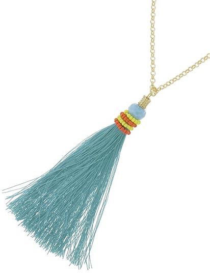 Totally Tassels Necklace Teal  | sassyshortcake.com