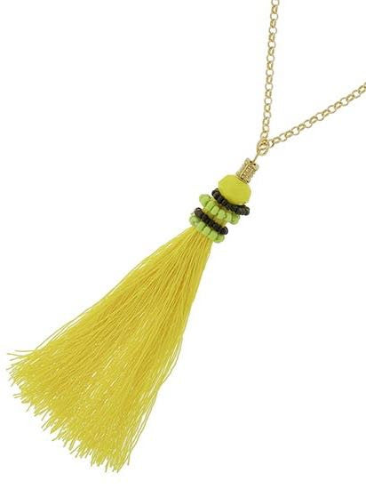 Totally Tassels Necklace - Yellow | sassyshortcake.com