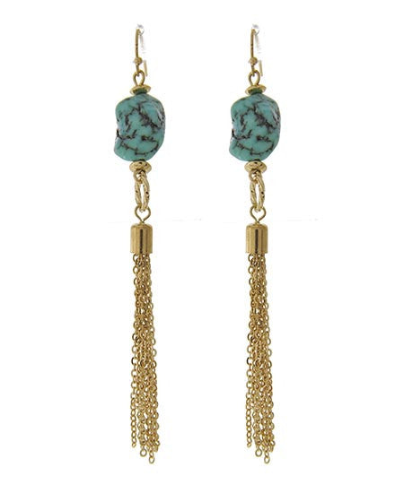 Crackle Turquoise Fringe Earrings