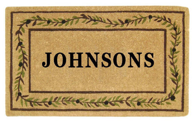 Olive Branch Border Mat - 22 x 36 - Personalized-Heavy Duty Cocomat-Accentuary