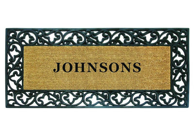 Acanthus Border - 24 x 57 - Personalized-Rubber Coir Mats-Accentuary