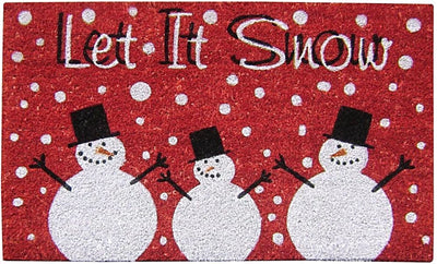 Printed Holiday Coir Mat - Let it Snow-Doormats-Accentuary
