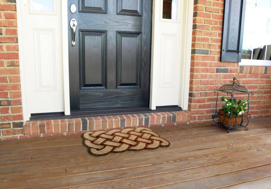 Lover's Knot Mat Brown-Doormats-Accentuary