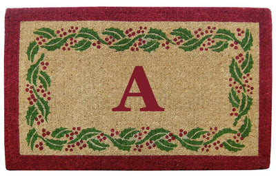 Holly Ivy Border Mat - 22 x 36 - Monogram-Heavy Duty Cocomat-Accentuary