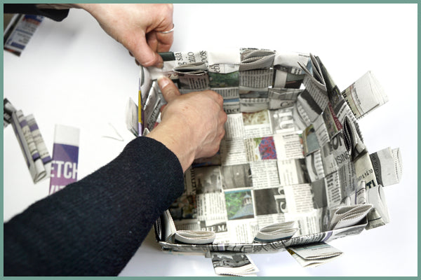 newspaper basketry diy