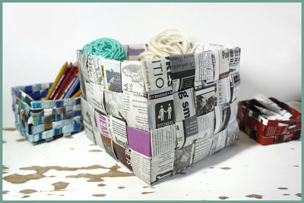 diy newspaper basket weaving tutorial