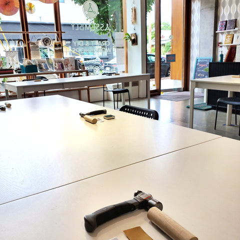 crafting tables at Assembly PDX
