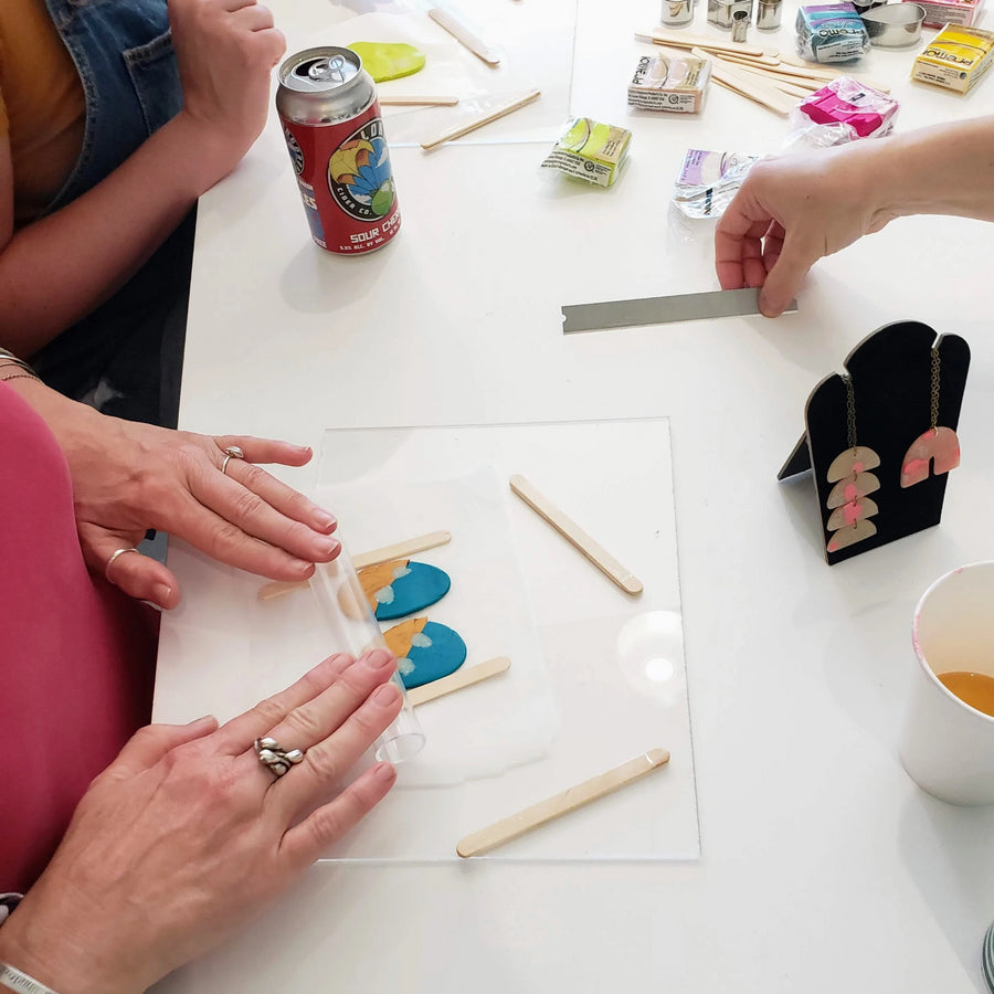 jewelry making workshop with clay