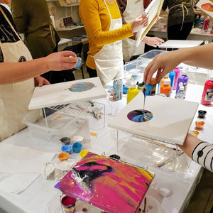 art class acrylic pouring paint night
