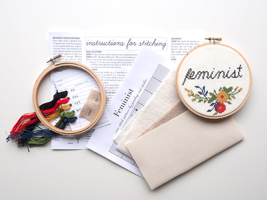 Feminist cross stitch embroidery kit
