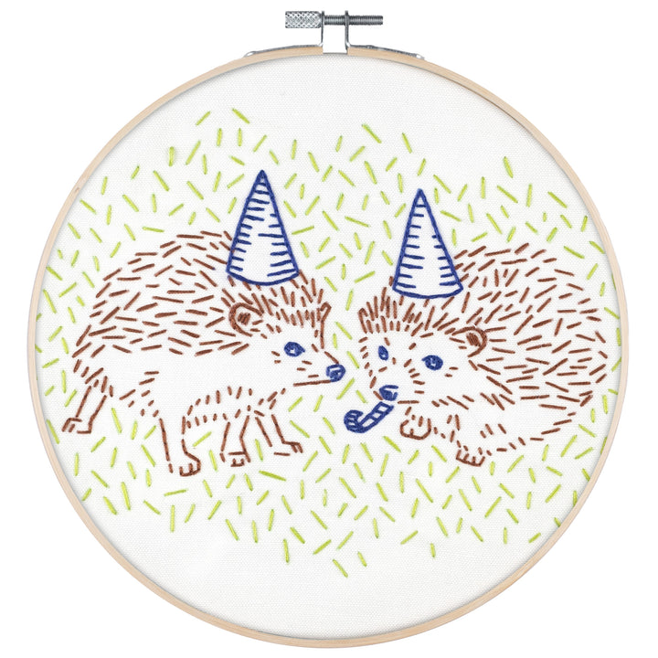 hedgehog party animal embroidery kit